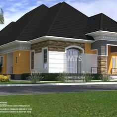 1 new message Modern Small House Design, House Design Photos, House Front Design, Four Bedroom House Plans, 4 Bedroom House Designs, Bungalow Floor Plans, Modern Bungalow House, Bungalow Designs, House Plans Mansion