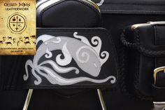 Handmade leather art on a motorcycle luggage bag by Kriszti.