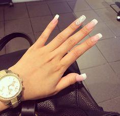 fashion, french, girl, girly, glitter, michael kors, mk, nail art, nails, prom, silver glitter, style, watch, notd, beautiful, long french nails