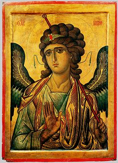 Byzantine (Constantinople or Sinai?), second half of the 13th century, Icon with the Archangel Gabriel, tempera and gold on wood panel with raised borders, 105 x 75 cm (41 3/8 x 29 1/2 inches), Holy Monastery of Saint Catherine, Sinai, Egypt.