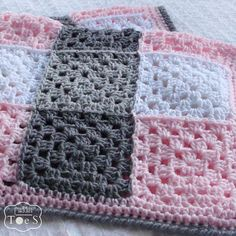 Gray and Pink Baby Blanket Granny Square by PrairieHeartstrings