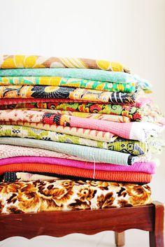 Vintage kantha quilts.