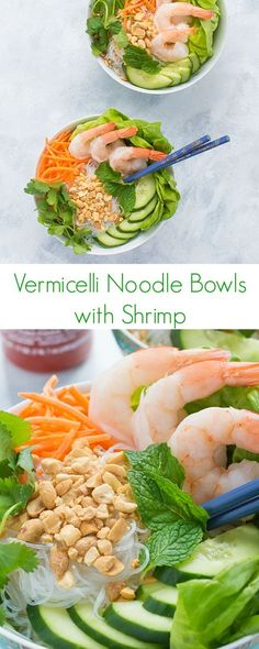 Vermicelli Noodle Bowls with Shrimp Recipe - This fast and delicious no-cook Vietnamese vermicelli bowl is full of rice noodles, shrimp, crunchy veggies and fresh herbs. Perfect for lunch and dinner!: