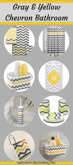 15 pc chevron bright yellow gray white bathroom set bath for Bright yellow bathroom accessories