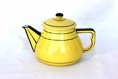 Yellow kitchen Art Deco teapot, antique tea pot, bumble bee, French coffee pot, French kitchen, antique French pottery, French cafe. $24.00, via Etsy.
