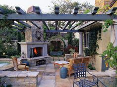 outdoor fireplace and pergola | Pergola with Outdoor Fireplace and Water Feature Middle Tennessee