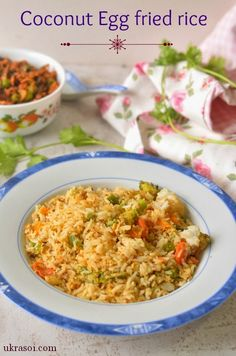 combine the two to enjoy this delicious one pot meal :- Coconut Egg fried rice. Best Indian Recipes, Ethnic Recipes, Egg Recipes, Chicken Recipes, Vegetarian Rice Recipes, Egg Curry, Calorie Intake, One Pot Meals, Fried Rice