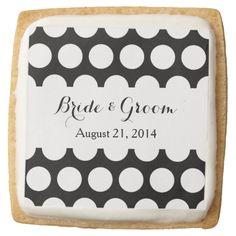 Black and White Polka Dots Wedding Square Premium Shortbread Cookie
