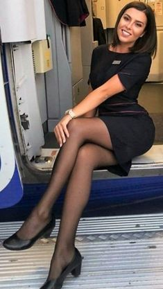 Female Flight Attendant in black dress in black pantyhose Black Pantyhose, Black Tights, Nylons, Great Legs, Nice Legs, Flight Attendant Hot, Looks Pinterest, Airline Uniforms, Women Legs