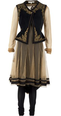 Black and gold kurta set with jacket by TARUN TAHILIANI. http://www.perniaspopupshop.com/designers-1/tarun-tahiliani