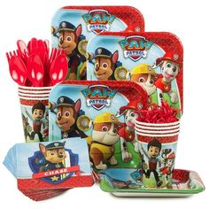Paw Patrol Party Supplies for all your party needs.  Make sure your child has the perfect Paw Patrol party with this all in one standard tableware kit which contains: Paw Patrol 7 Cake Plates (8 Count) Paw Patrol 9oz Cups (8 Count) Paw Patrol Beverage Napkins (16 Count), and 8 Forks / 8 Spoons / 8 Knives