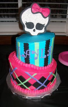 My twin daughters love monster high....what a great cake!!!! Love the colors!!! not excited about the skull...but that's monster high.