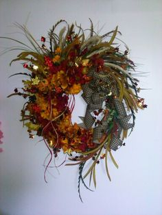 Red & Gold Fall Wreath