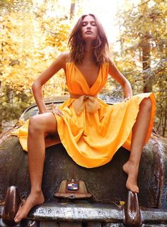 """I don't own an orange dress. Pretty sure most people don't. But THIS I can get into. """"Look at that lady in the orange dress!! She looks fun and is probably smart and dances well, we should invite her to Spain with us."""" I'm going to need a spray tan…Stay tuned…"""
