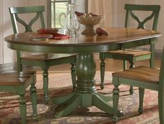 Sidney Dining Room Set Green Country French Round Table And 4 Chairs | eBay