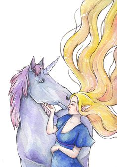 Elf and Unicorn by Refielle