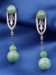 Art Deco. 14k Bi-Color Gold, Jadeite Earpendants, Bippart, Griscom & Osborn.