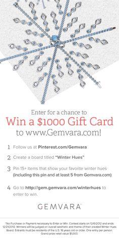 Win a $ 1,000 gift card to www.Gemvara.com !!