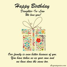 Sweetest Daughter In Law Birthday Cards To Share Greetings For Facebook Happy Messages