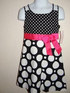 Ashley Ann Girl's Black/White 100% Cotton Sleeveless Dot Dress Size 5  #AshleyAnn #Everyday