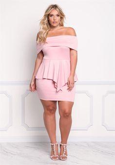 Plus Size Clothing | Plus Size Fold Over Peplum Bodycon Dress | Debshops