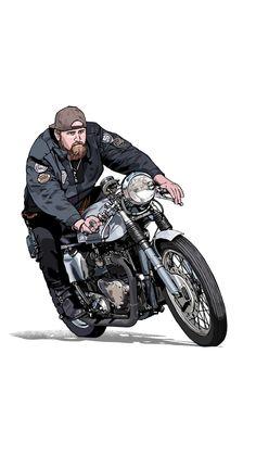 Futuristic Motorcycle, Motorcycle Art, Bike Art, Bike Drawing, Pop Art Drawing, Classic Road Bike, Bike Illustration, Portrait Cartoon, Cafe Bike