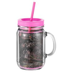 Pink Camo Camouflage Acrylic Mason Jar With Lid & Straw Decorate With Vinyl Mallard Ball Country Redneck Gift on Etsy, $12.95