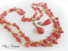 Beautiful Vintage Pink Coral Lucite Two by PegsVintageJewellery, $17.00