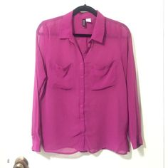 Fuchsia Blouse Lovely fuchsia colored blouse. Sheer. H&M. Tops Button Down Shirts