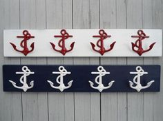 Nautical Beach Decor Anchor Wall Hooks, Sailor, Boat, Cabin, Beach Decor,wooden…