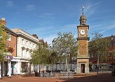 the clock tower , rugby town centre , uk stock photo