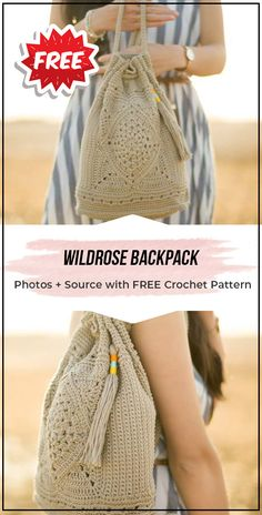 crochet Wildrose Backpack free pattern - easy crochet backpack pattern for beginners # crochet handbags free patterns diy bags Crochet Simple, Free Crochet Bag, Crochet Diy, Crochet Tote, Crochet Handbags, Crochet Purses, Purse Patterns Free, Bag Pattern Free, Handbag Patterns