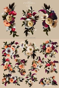 Lovely roses, anemones, strawflowers, ranunculus, and others were photographed to create this beautiful clip art set that really is magical.