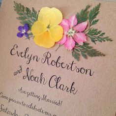 Floral Wedding Invitation. Boho Rustic invites with real pressed flowers on Kraft card by FromLeoniWithLove on Etsy