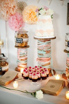 Cakes Stands.   Read More: http://www.stylemepretty.com/2014/07/24/handmade-pennsylvania-wedding-at-foxley-farm/