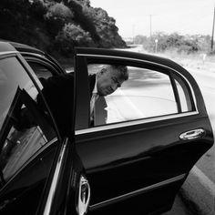 David Lynch on the set of Mulholland Drive, 2001