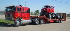 International Eagle hauling a vintage International COE