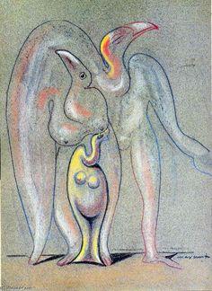 'komposition', öl von Max Ernst (1891-1976, Germany)