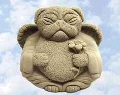 Zen PUG Dog Buddha Garden Art Statue Sculpture by Tyber Katz This wonderful new LUCKY PUG DOG sculpture will be certain to make you smile & create some