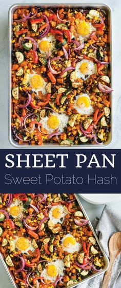 Sheet Pan Sweet Potato Hash recipe- share with a group for a wonderful breakfast or brunch idea!