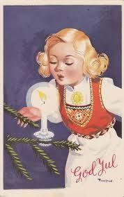 gamle julekort motiv  Hardangerbunad