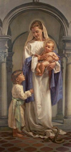 Mary and Jesus and a child. Blessed Mother Mary, Divine Mother, Blessed Virgin Mary, Religious Images, Religious Art, Immaculée Conception, Queen Of Heaven, Mama Mary, Sainte Marie