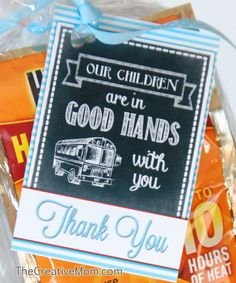 Bus Driver Gifts {free printable} - The Creative MomThe Creative Mom Bus Driver Appreciation, Employee Appreciation Gifts, Teacher Appreciation Week, Employee Gifts, Bus Driver Gifts, School Bus Driver, Staff Gifts, Teacher Gifts, Teacher Treats