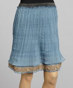 Another great find on #zulily! Blue Accordion Pleat Trumpet Skirt by Young Essence #zulilyfinds
