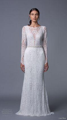 lihi hod 2017 bridal long sleeves bateau neckline full embellishment elegant sophiscated lace a  line wedding dress low back sweep train (sahara) mv -- Lihi Hod 2017 Wedding Dresses