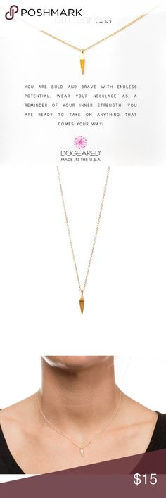 New I am fearless spear necklace, gold dipped 16'' gold filled chain  15mm gold dipped faceted spear charm  gold filled spring ring closure  i am fearless message card Dogeared Jewelry Necklaces