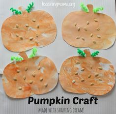 Pumpkin Craft for Toddlers using Shaving Cream  - Pinned by @PediaStaff – Please Visit ht.ly/63sNtfor all our pediatric therapy pins
