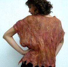 Top Blouse Nuno Felted silk merino wool Holiday by MajorLaura