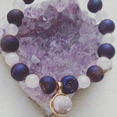 Rose Quartz and Druzy Bead Bracelet with Candy Aura Druzy Quartz pendant.
