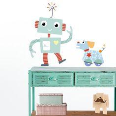 Divertido vinilo infantil de niño robot y su perro robot. Un vinilo decorativo de robots que hará especial la pared de tu dormitorio infantil.
